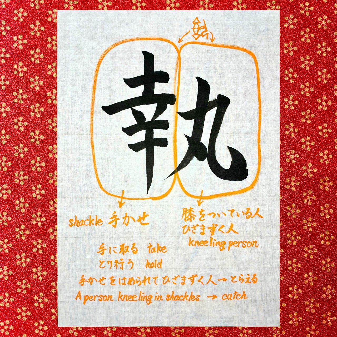 【執】は手枷をはめられてひざまずく人を表している漢字
